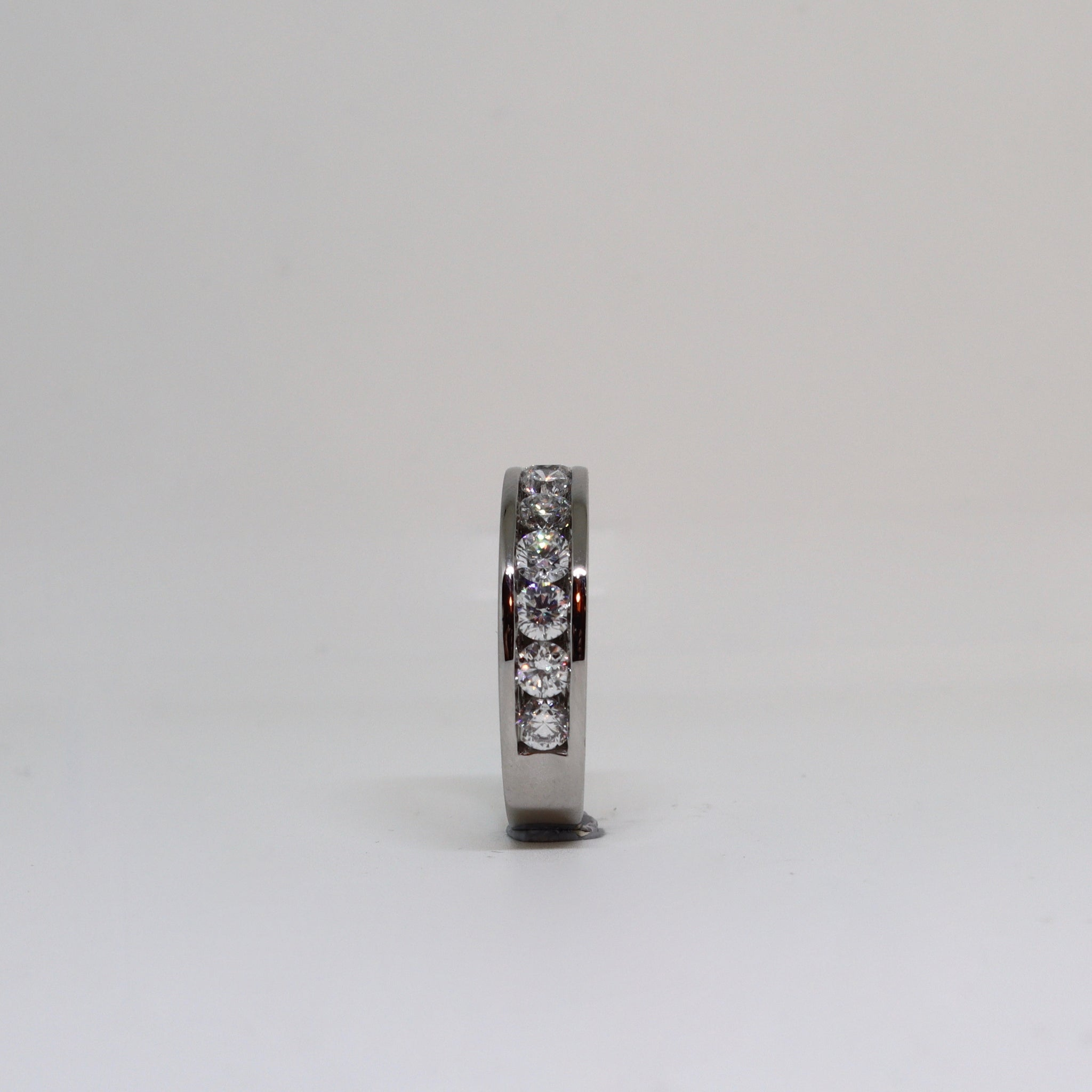 Diamond channel set anniversary ring