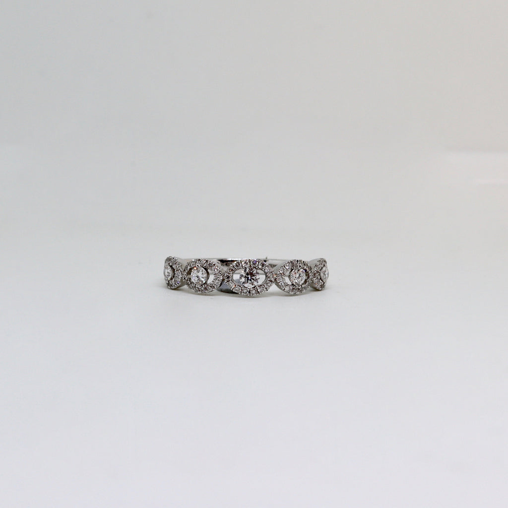5 Round diamond halo ring