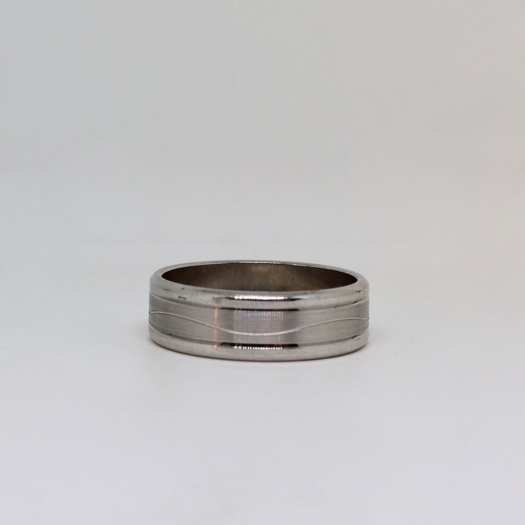 White gold with brushed finish mens ring