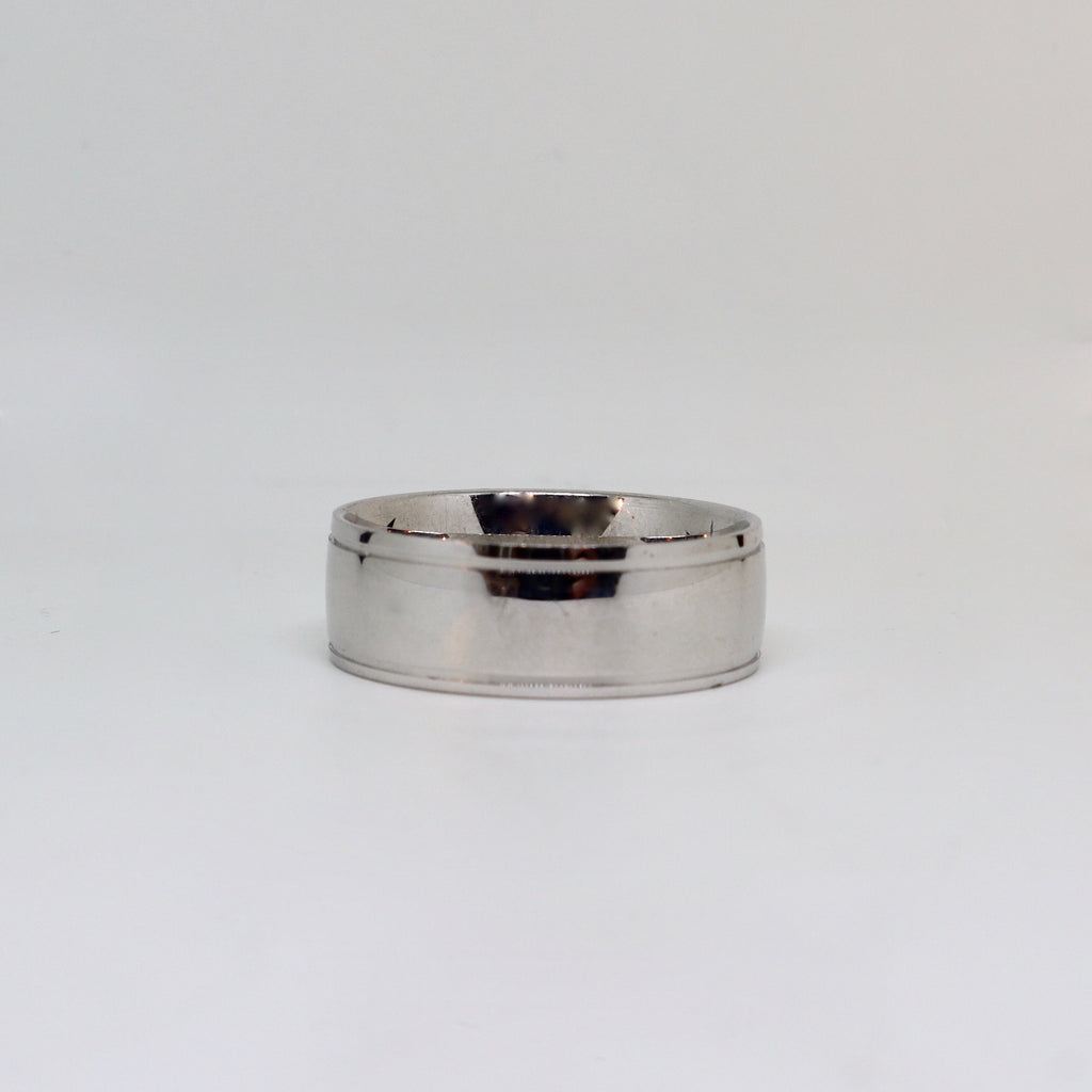 White gold with polished finish and double line mens ring
