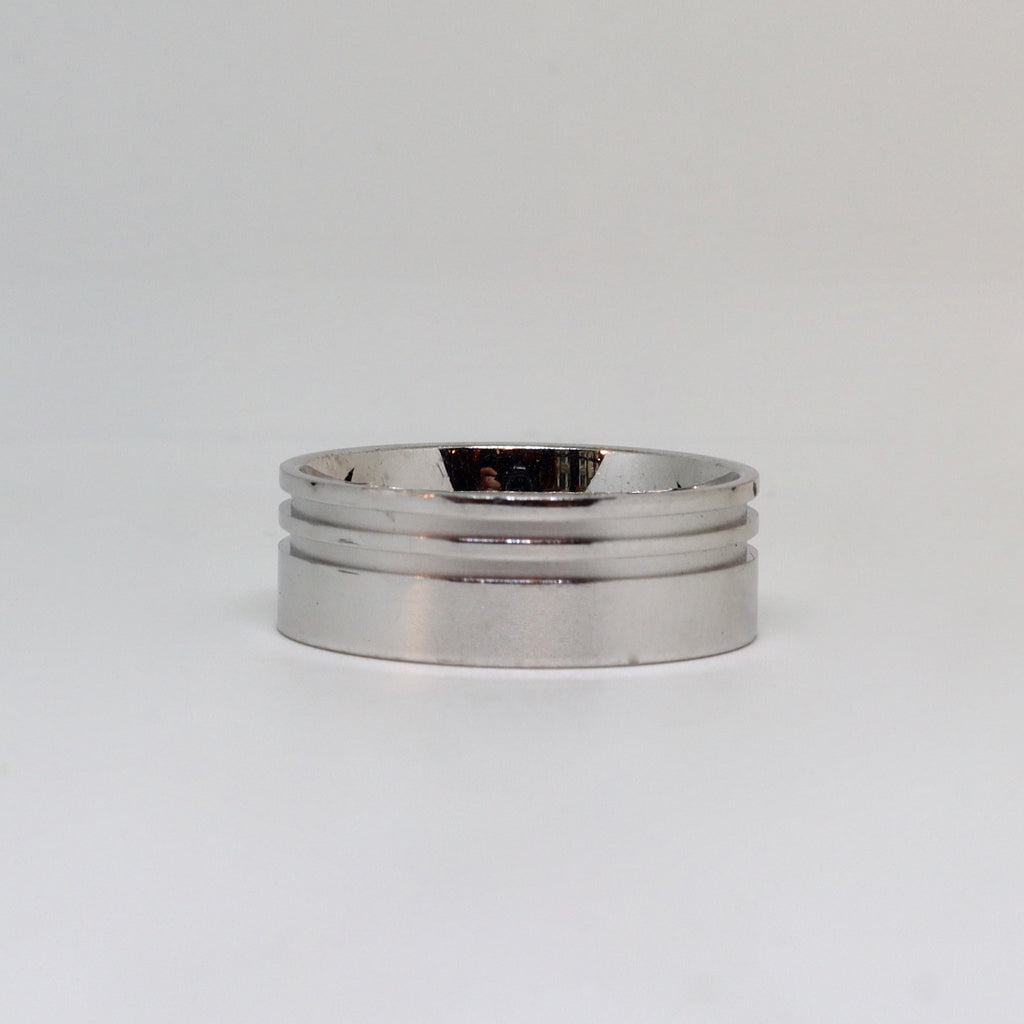White gold polished finish with double line edge mens ring