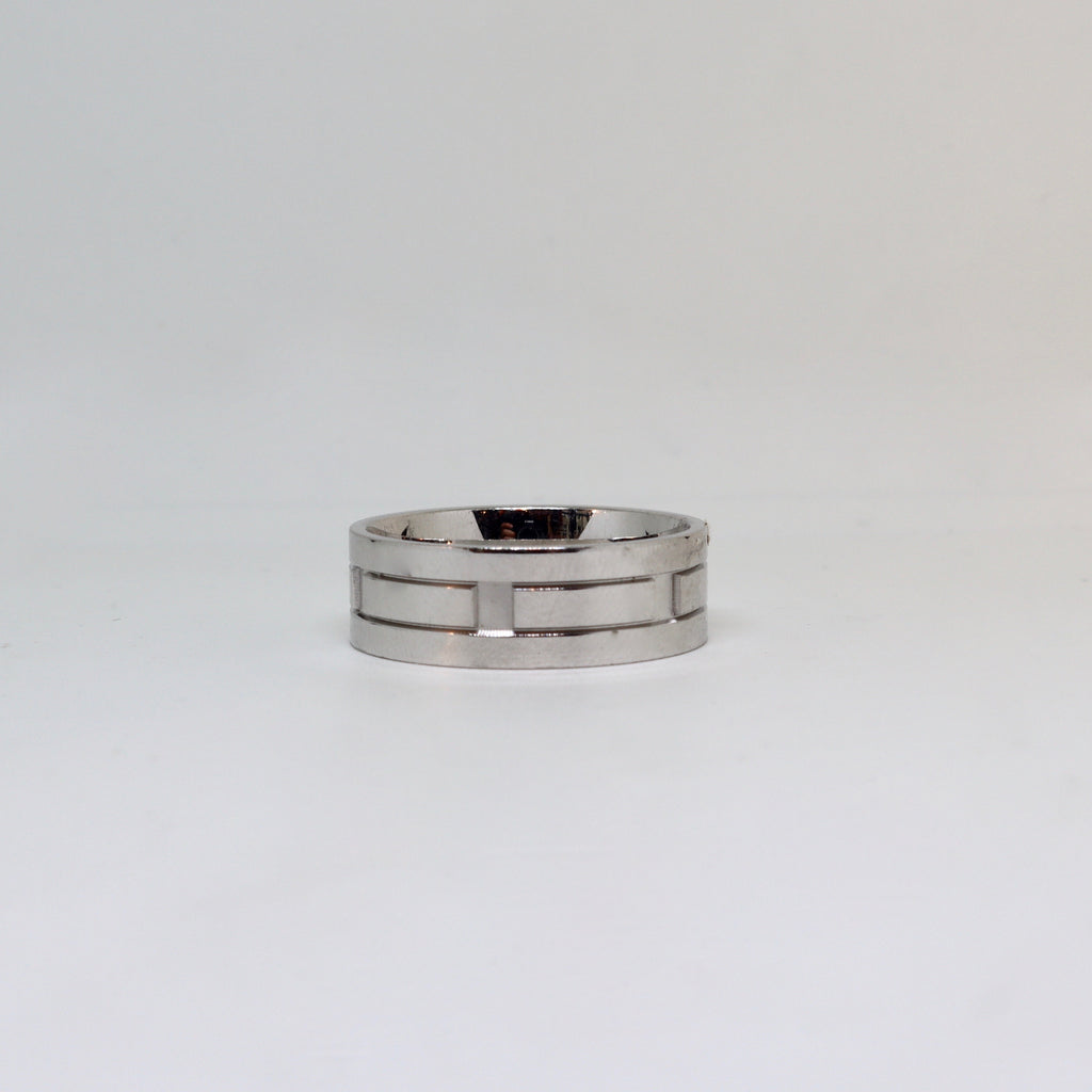 White gold geometric design with polished finish mens ring