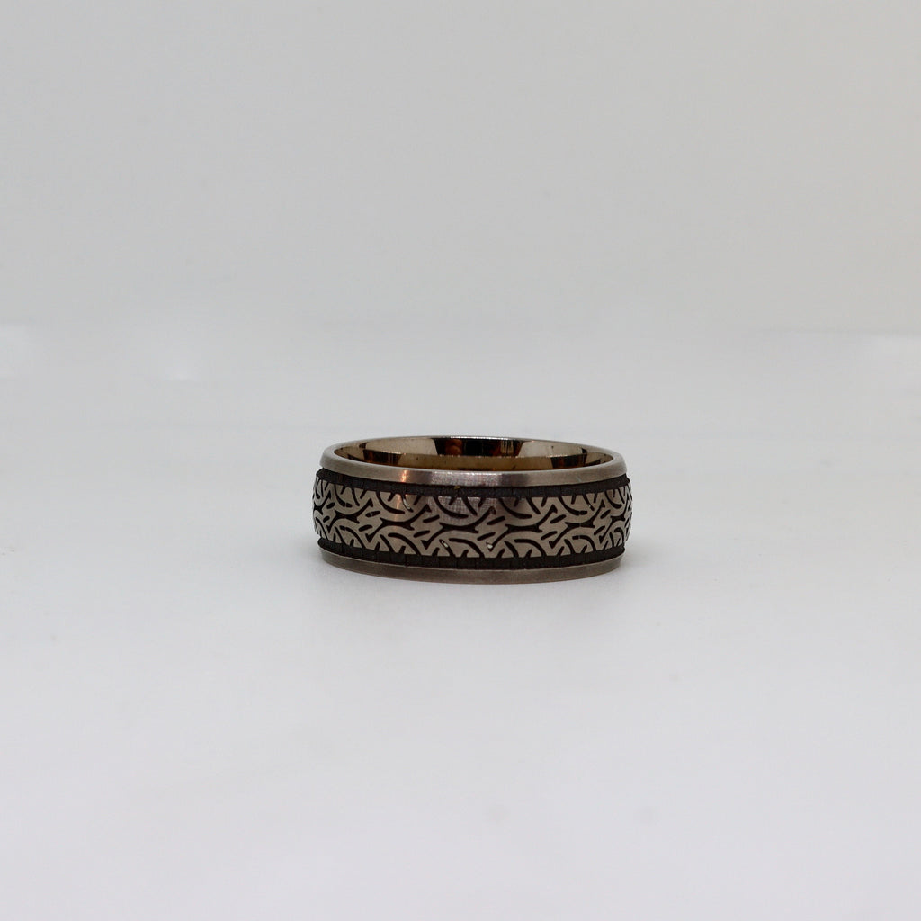 White gold with black etched design mens ring