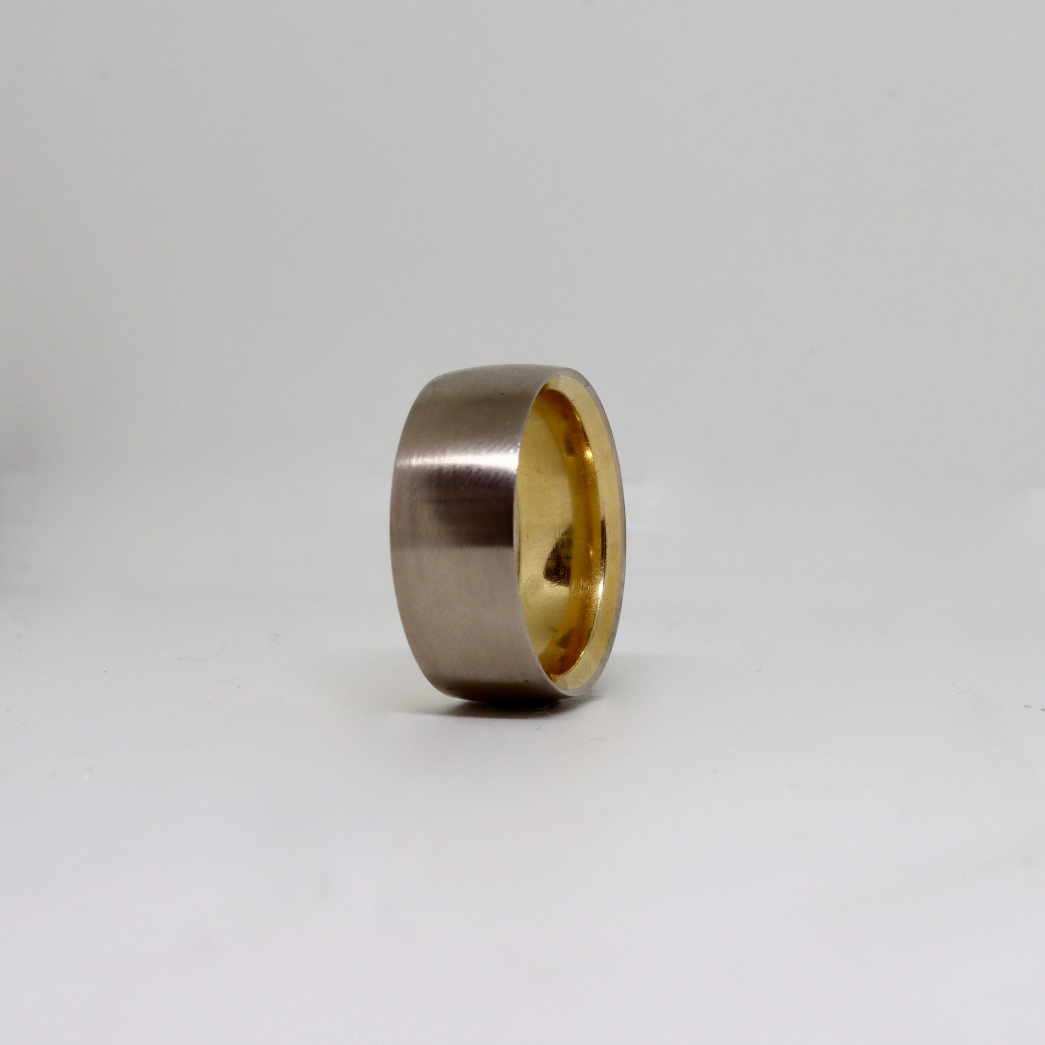 2 Tone polished edge mens ring