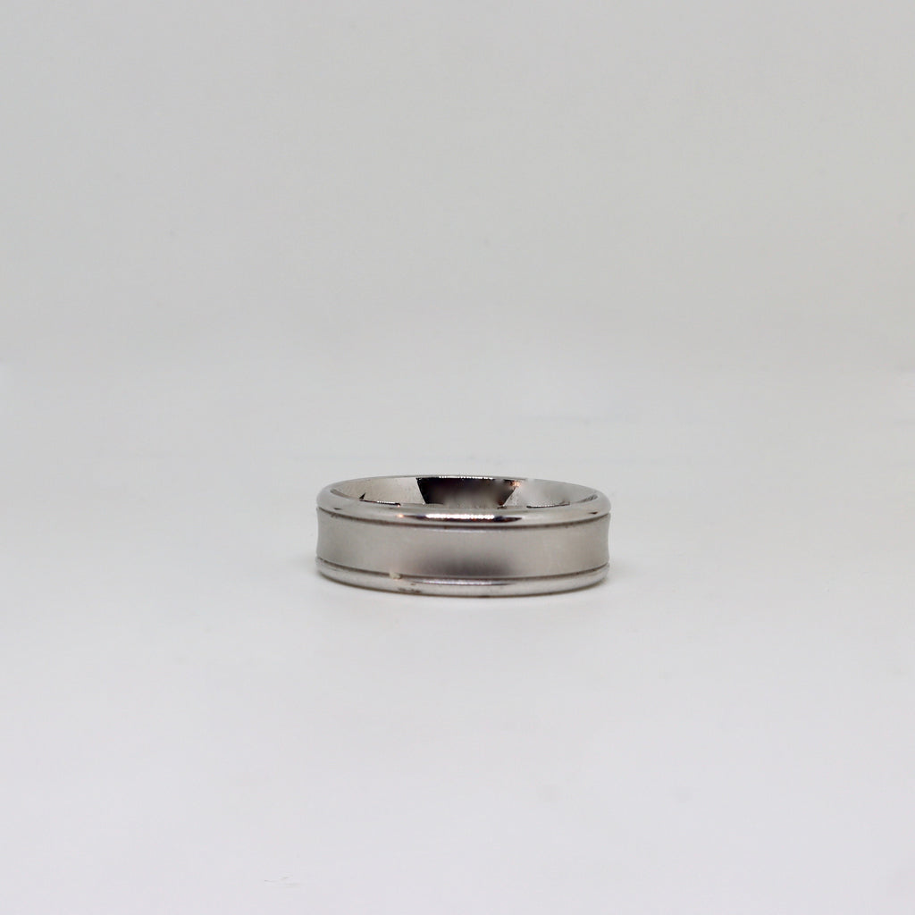 White gold brushed finish and double lines mens ring