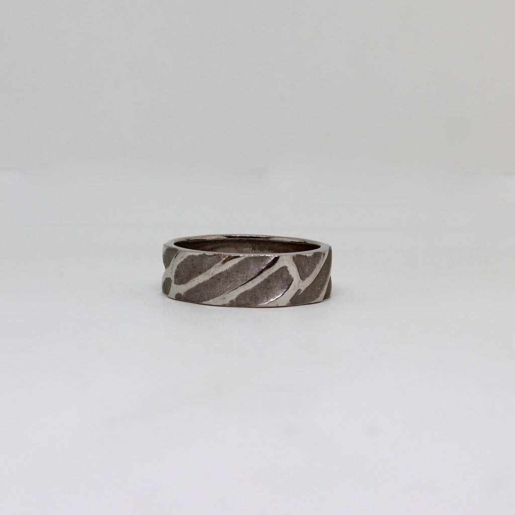 Etched white gold mens ring