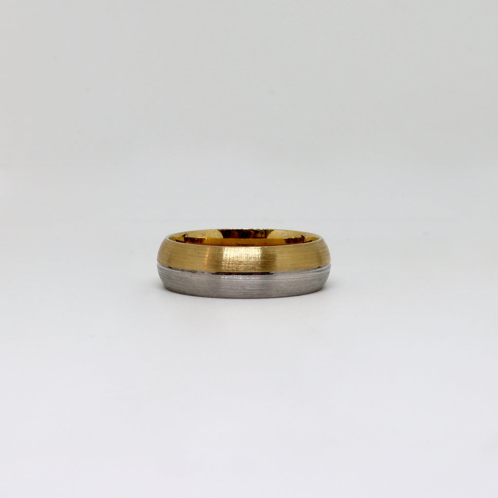 2 Tone Yellow and White gold brushed mens band