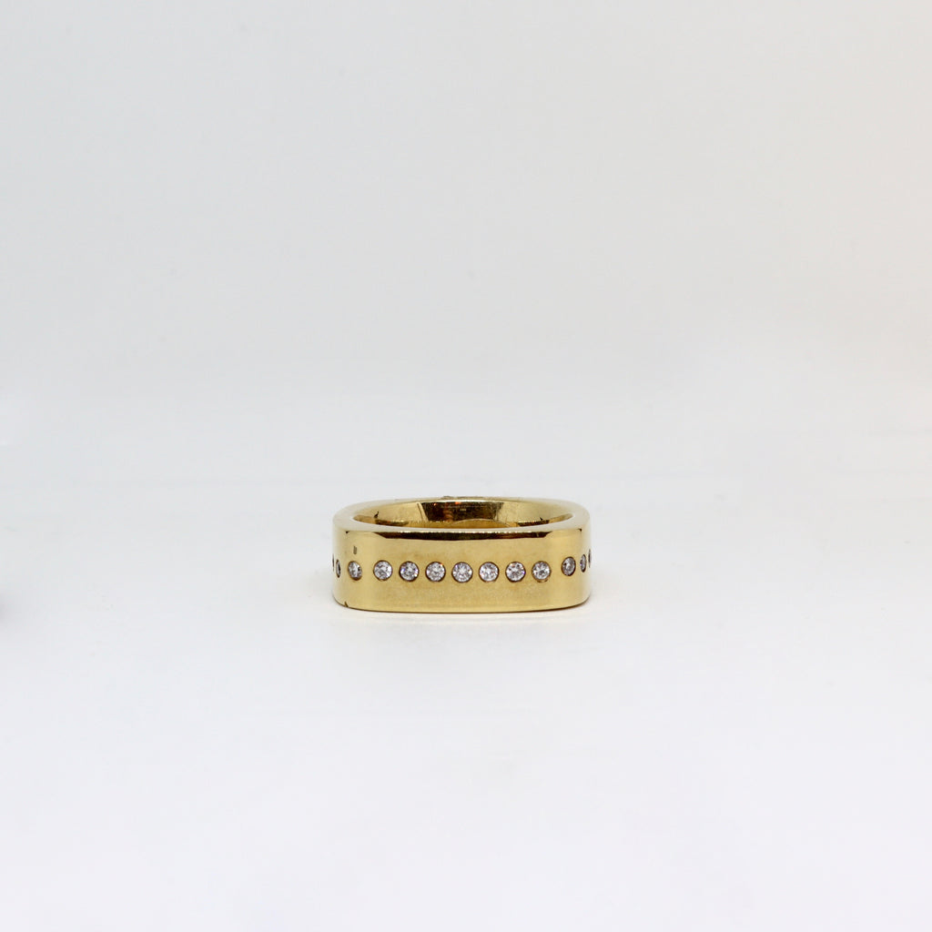 Yellow gold square ring with diamond set detailing mens ring