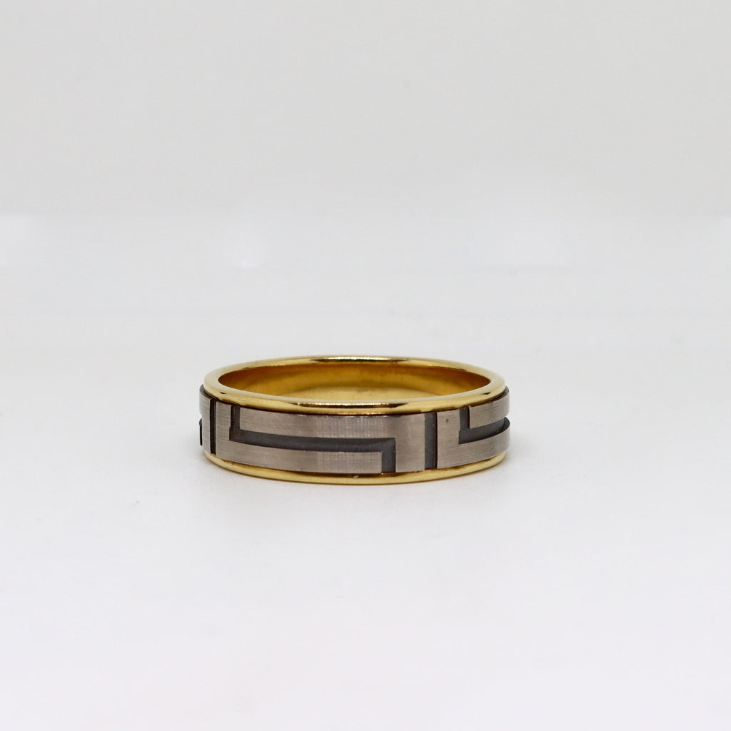 2 Tone geometric design mens ring
