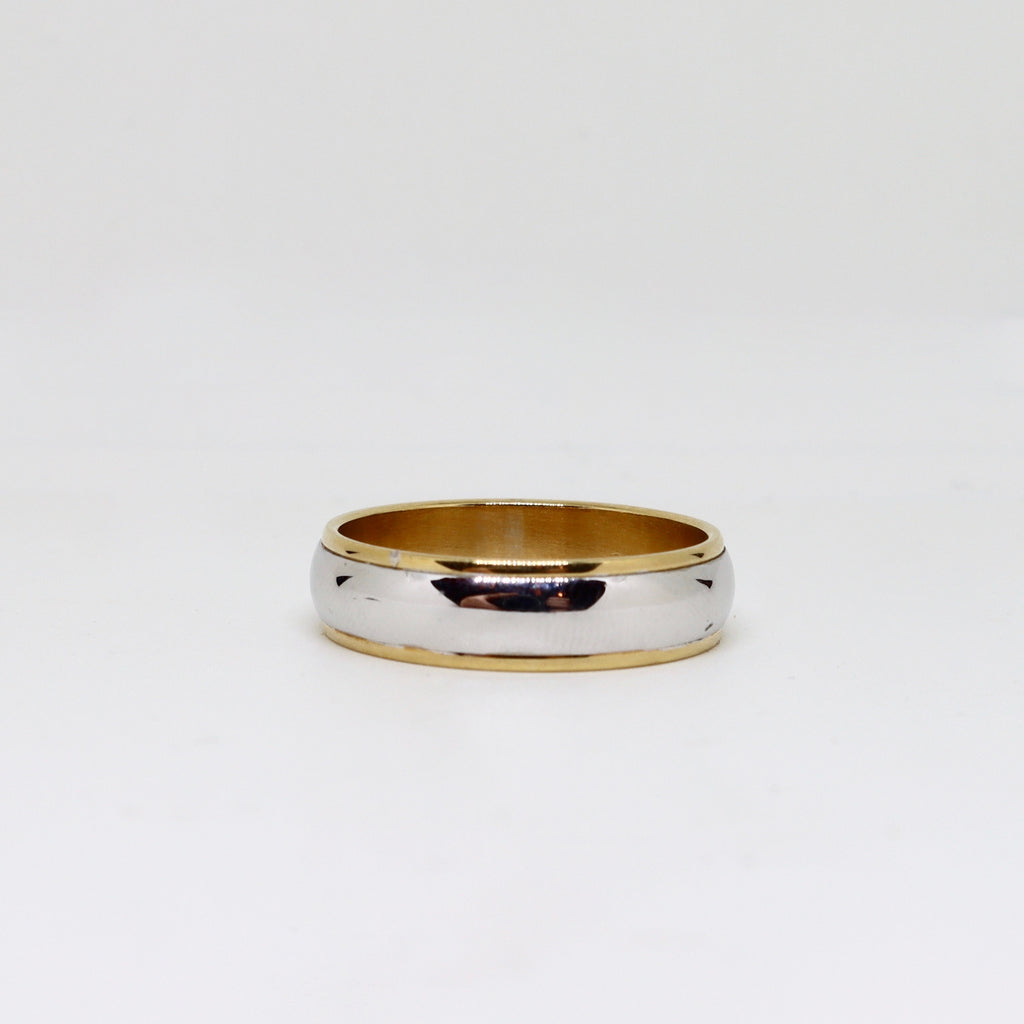 2 Tone yellow and white gold mens ring