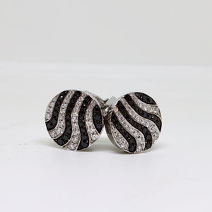 Black and White Pierced Earrings