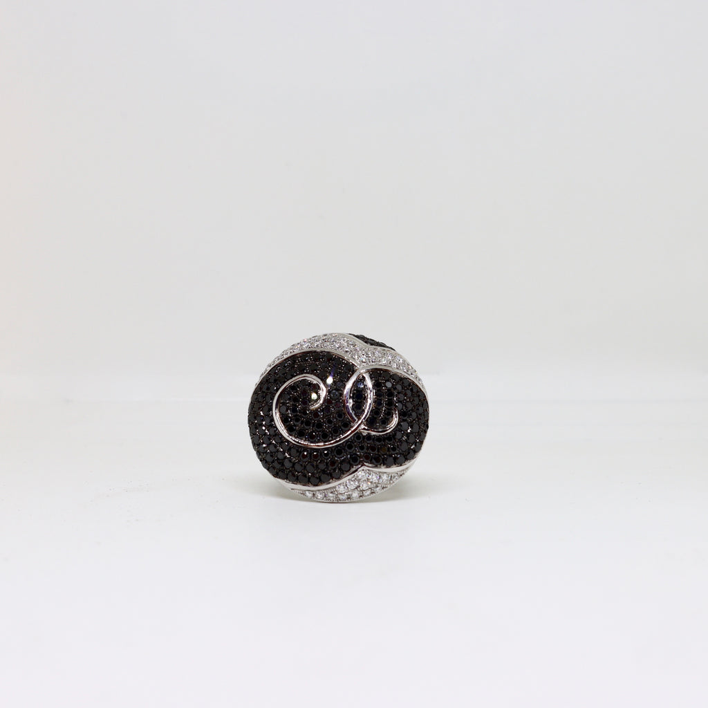 Black and White diamond dress ring