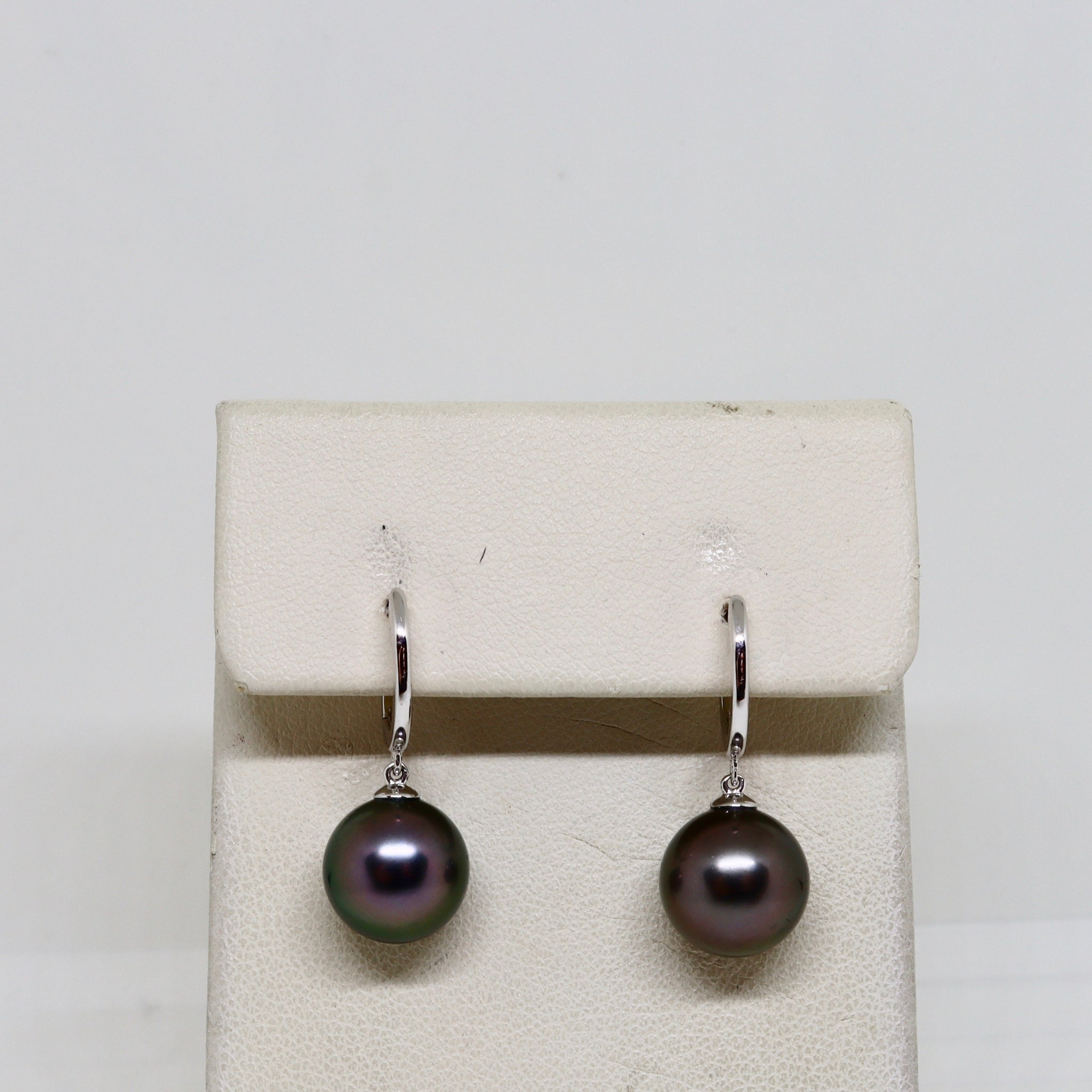 Black south sea pearl drop earrings