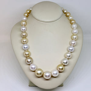 Multi-coloured graduated south sea graduated pearl necklace
