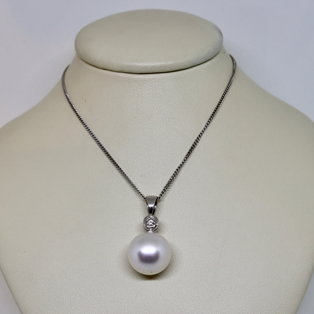 South sea pearl and diamond pendant