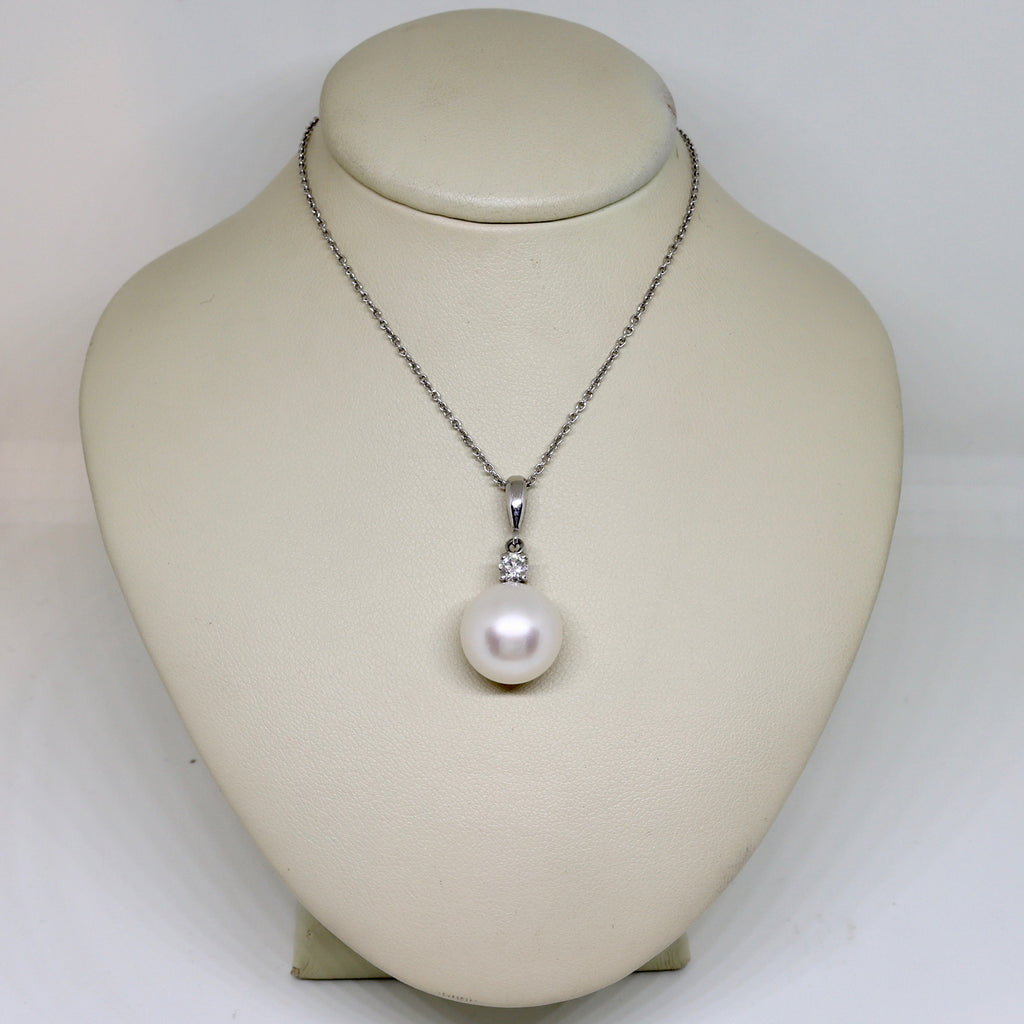 Pearl and Diamond drop pendant