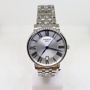 Tissot silver face and silver surround mens watch