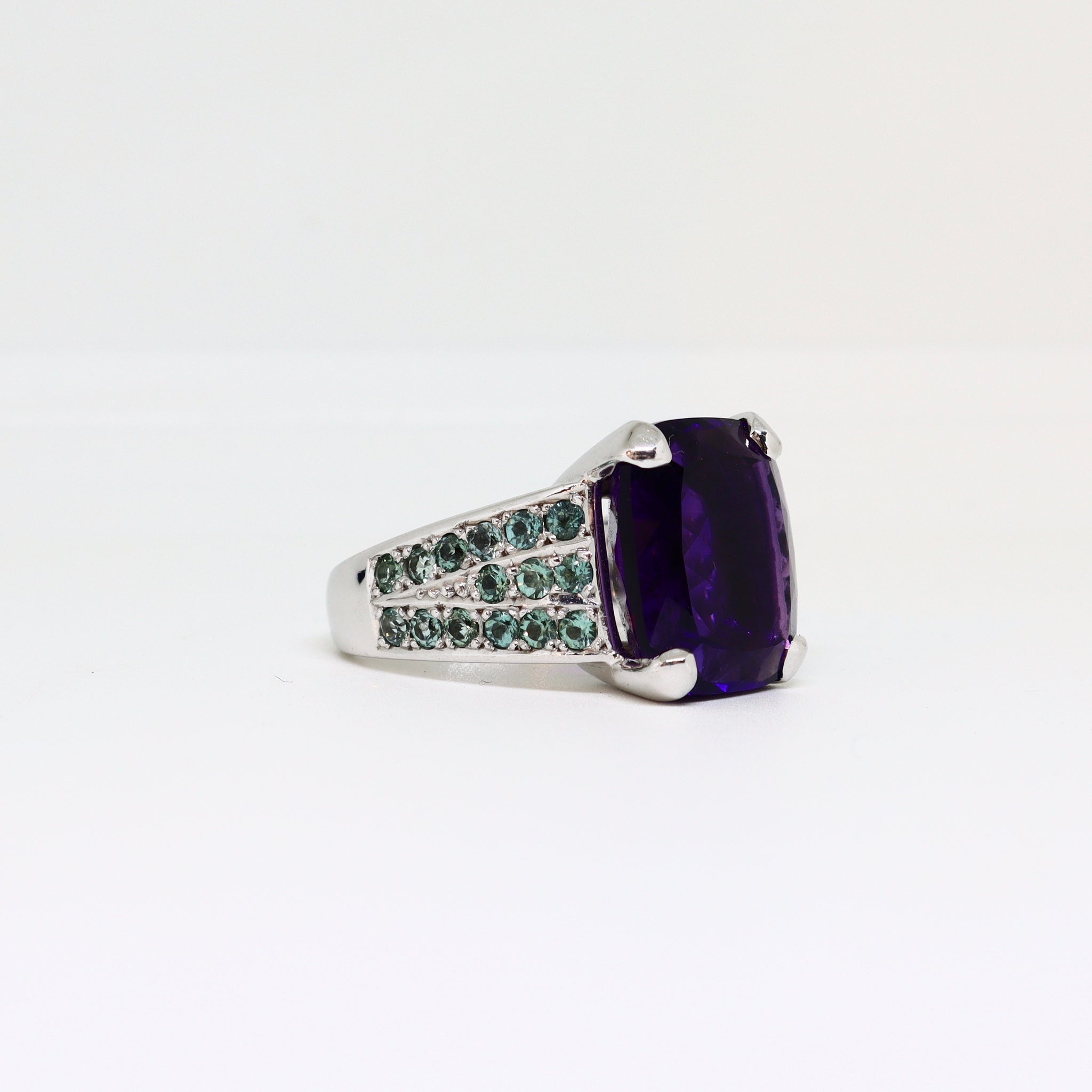 Amethyst ring with channel set Tourmaline shoulders