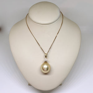 South sea golden pearl and diamond drop pendant