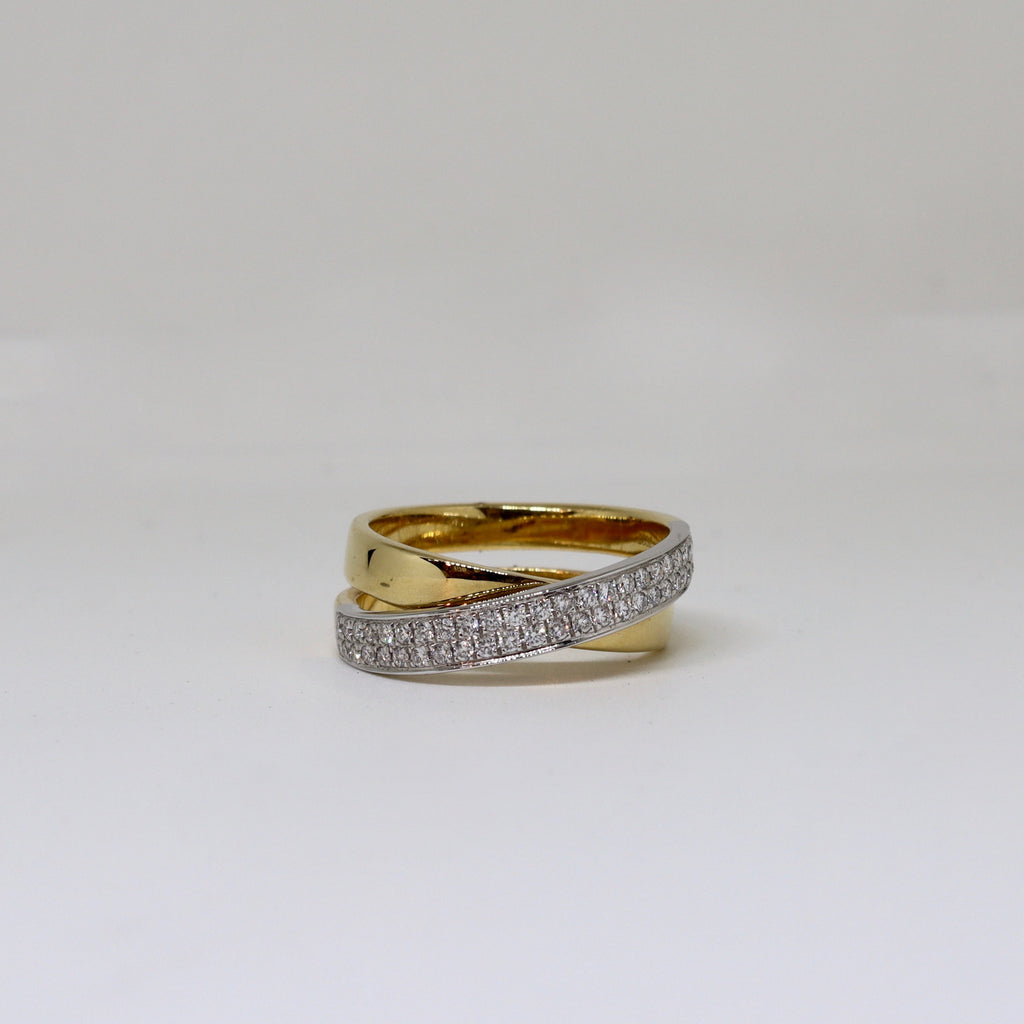 Double band yellow gold and diamond crossover ring