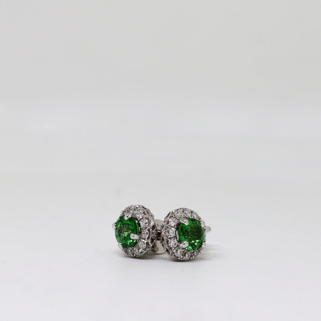 tsavorite and diamond cluster stud earrings