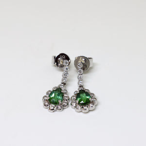 Tourmaline and diamond deco tear drop earrings
