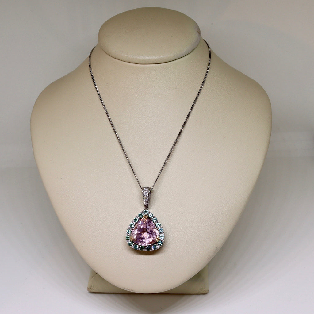 Pink tourmaline with green tourmaline halo and diamond set bale