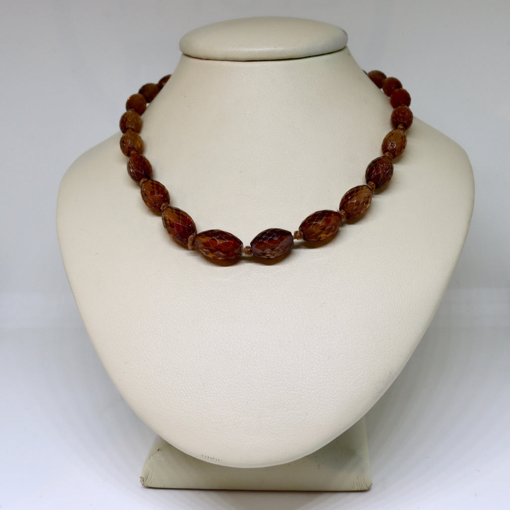 Hyacinth ziron bead necklace with rose gold clasp