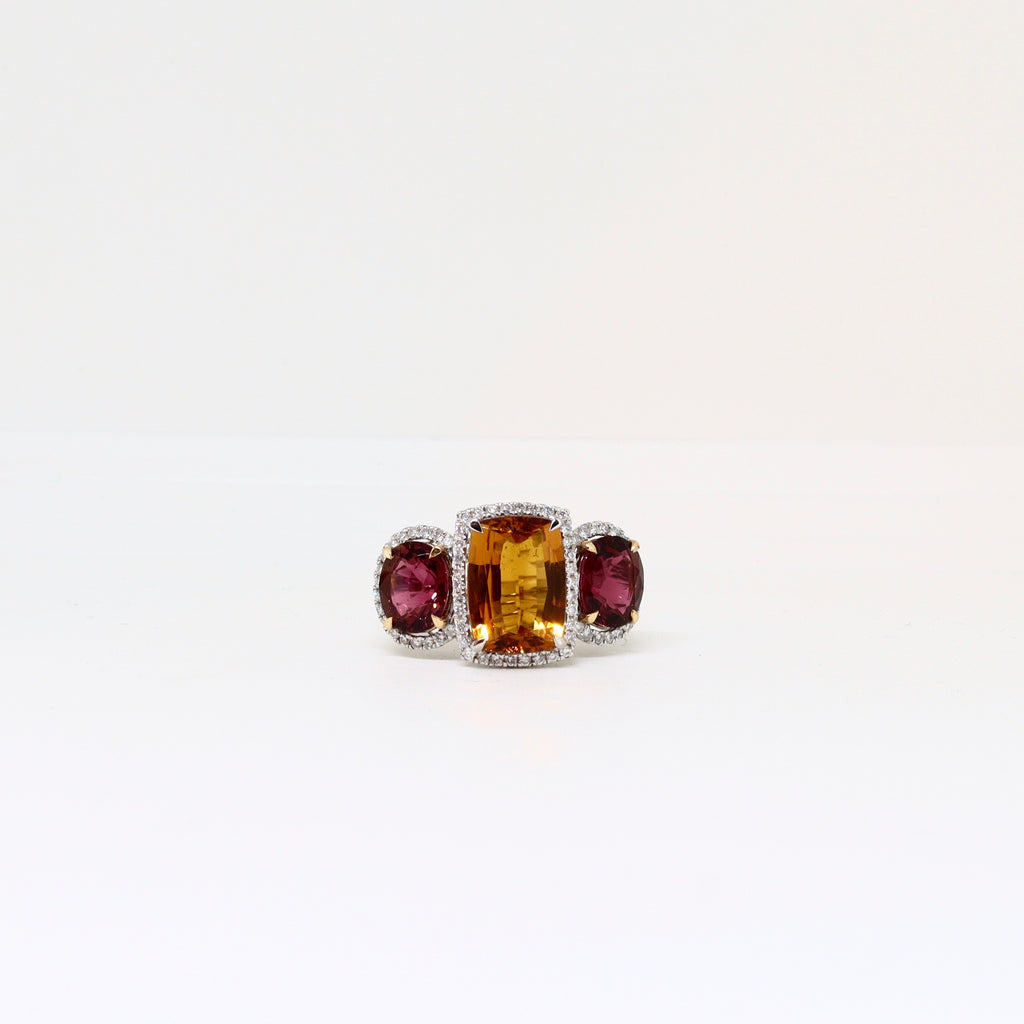3 Stone tourmaline halo set ring