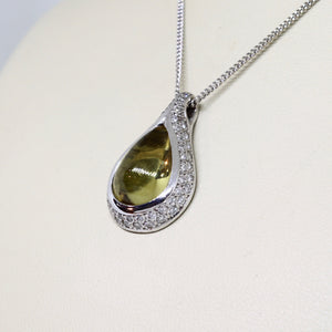 Beryl drop pendant with diamond pavé set outer