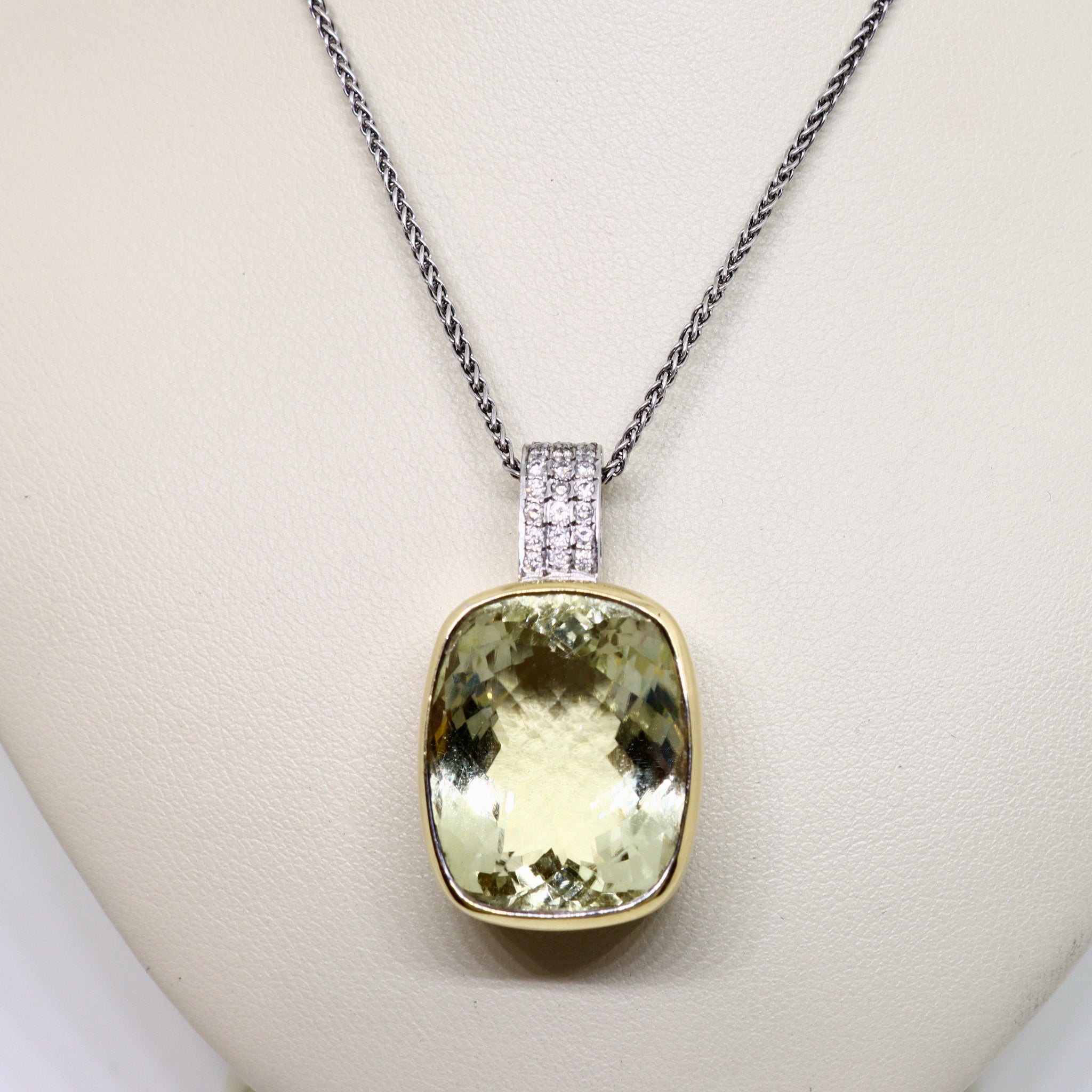 Lemon Citrine and diamond pendant