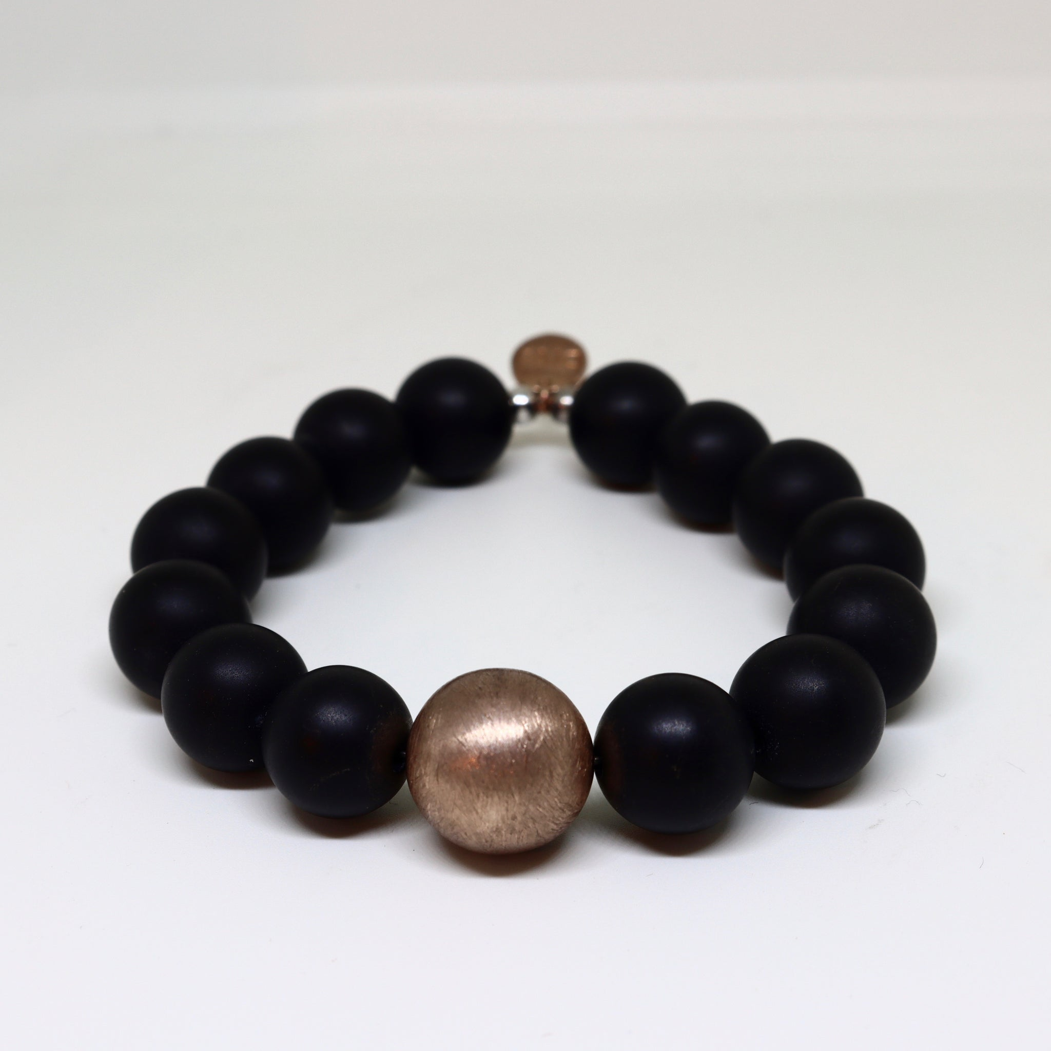 Black Onyx balls with brushed metal center