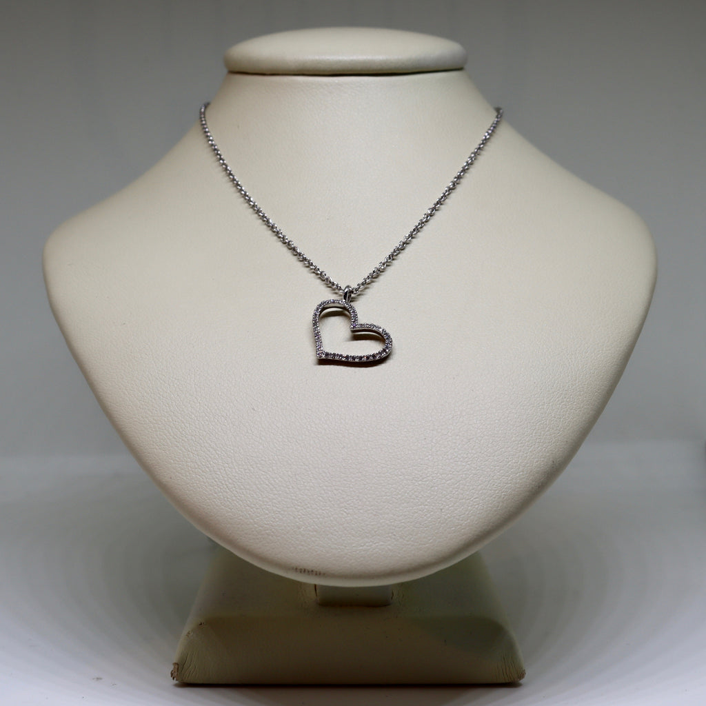 Diamond páve set heart necklace