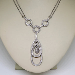Diamond double stacked tear drop pendant