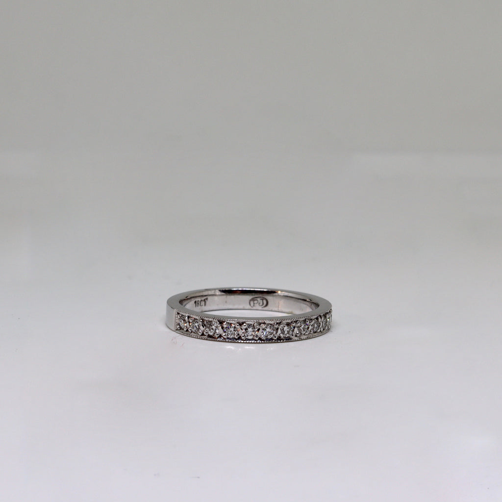 White gold and diamond millgrain set handmade band