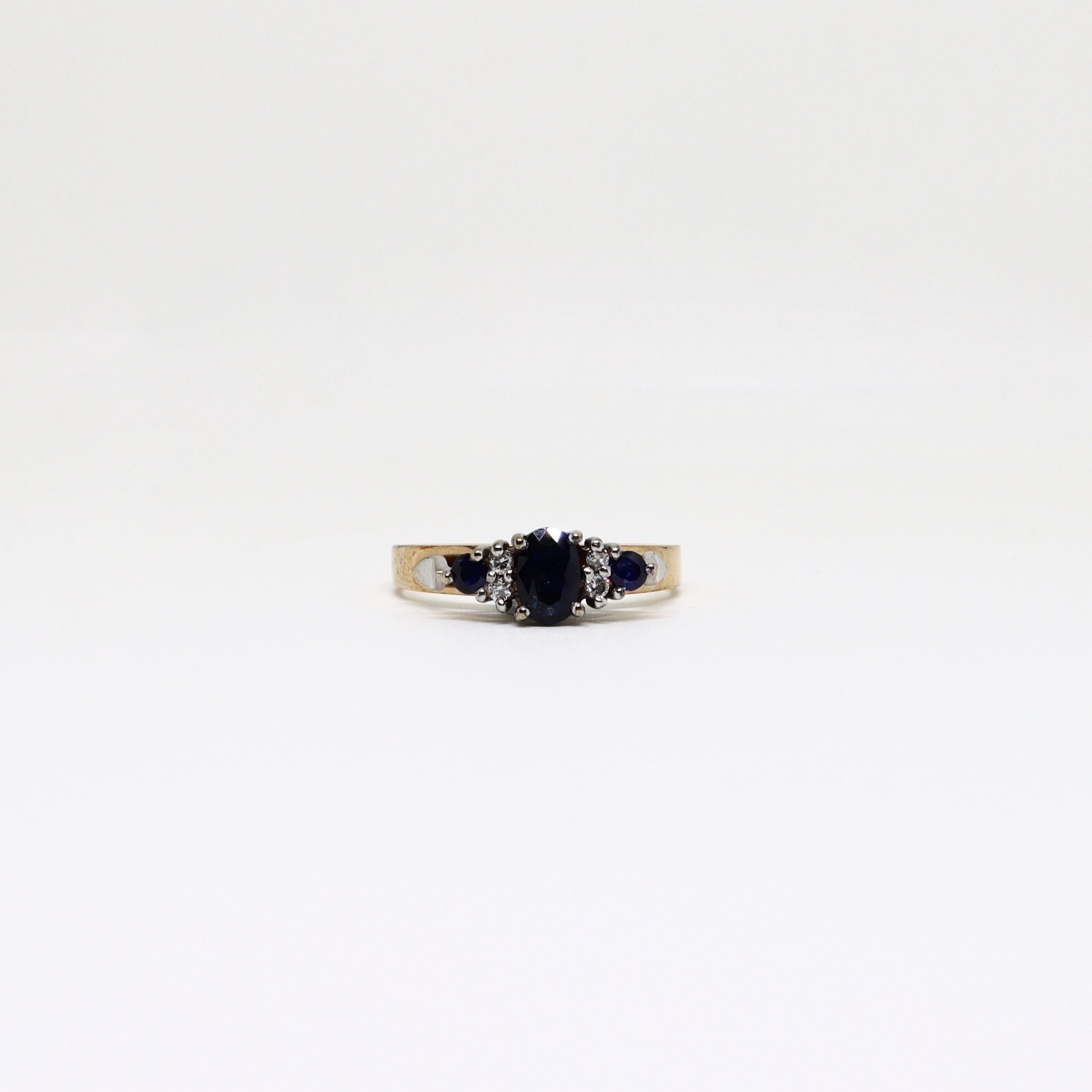 7 stone sapphire and diamond wire ring