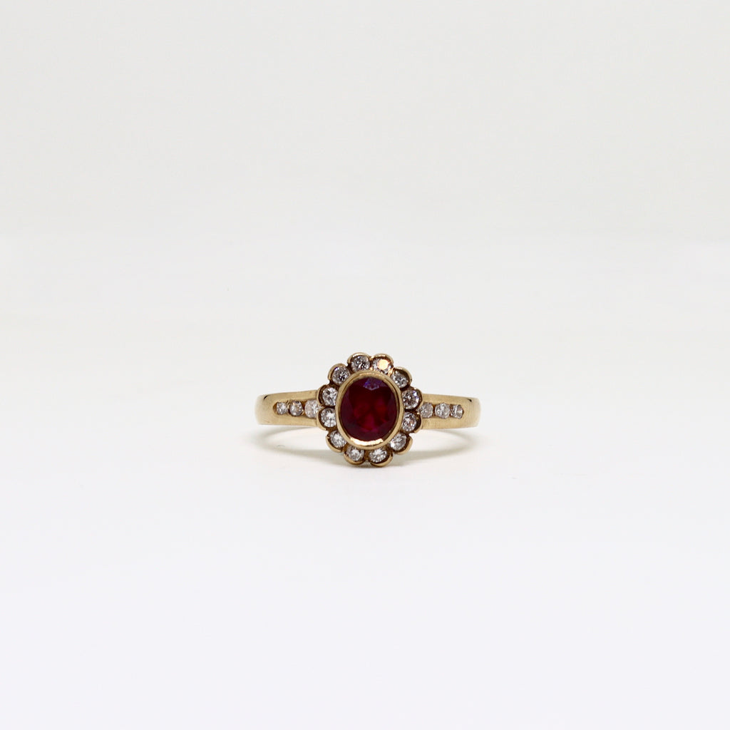 Ruby and diamond set cluster with diamond set shoulders