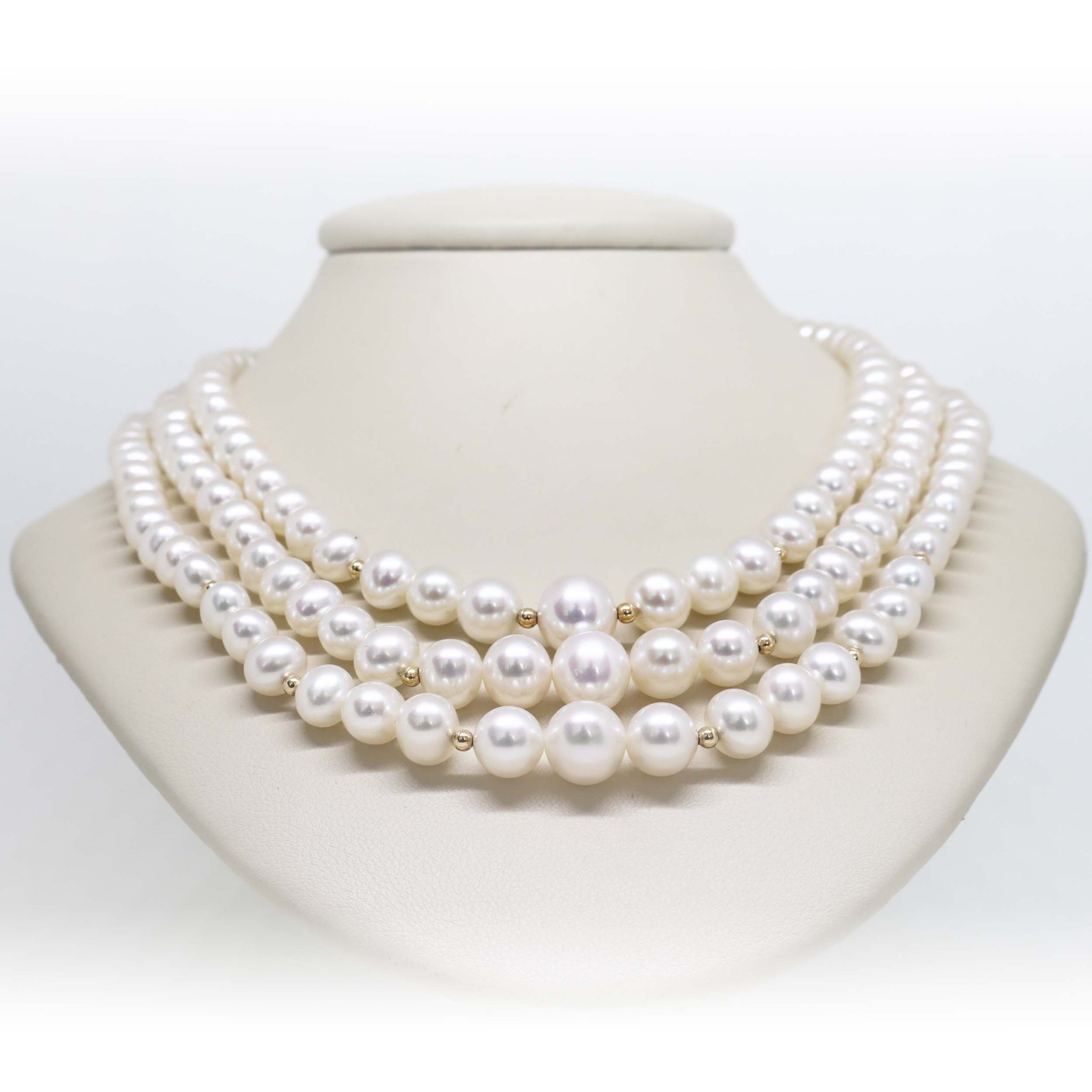 3 strand graduated pearl necklace