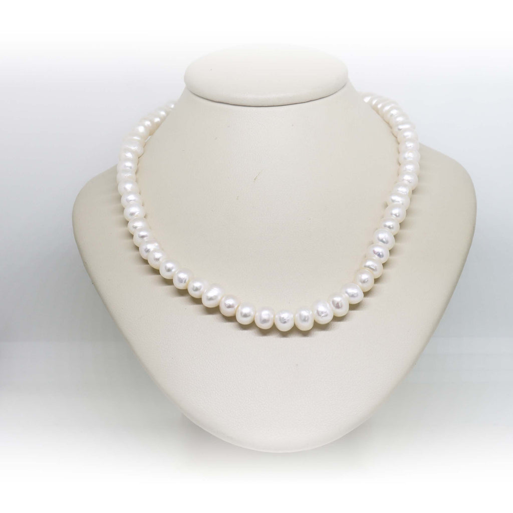 white freshwater pearl strand necklace