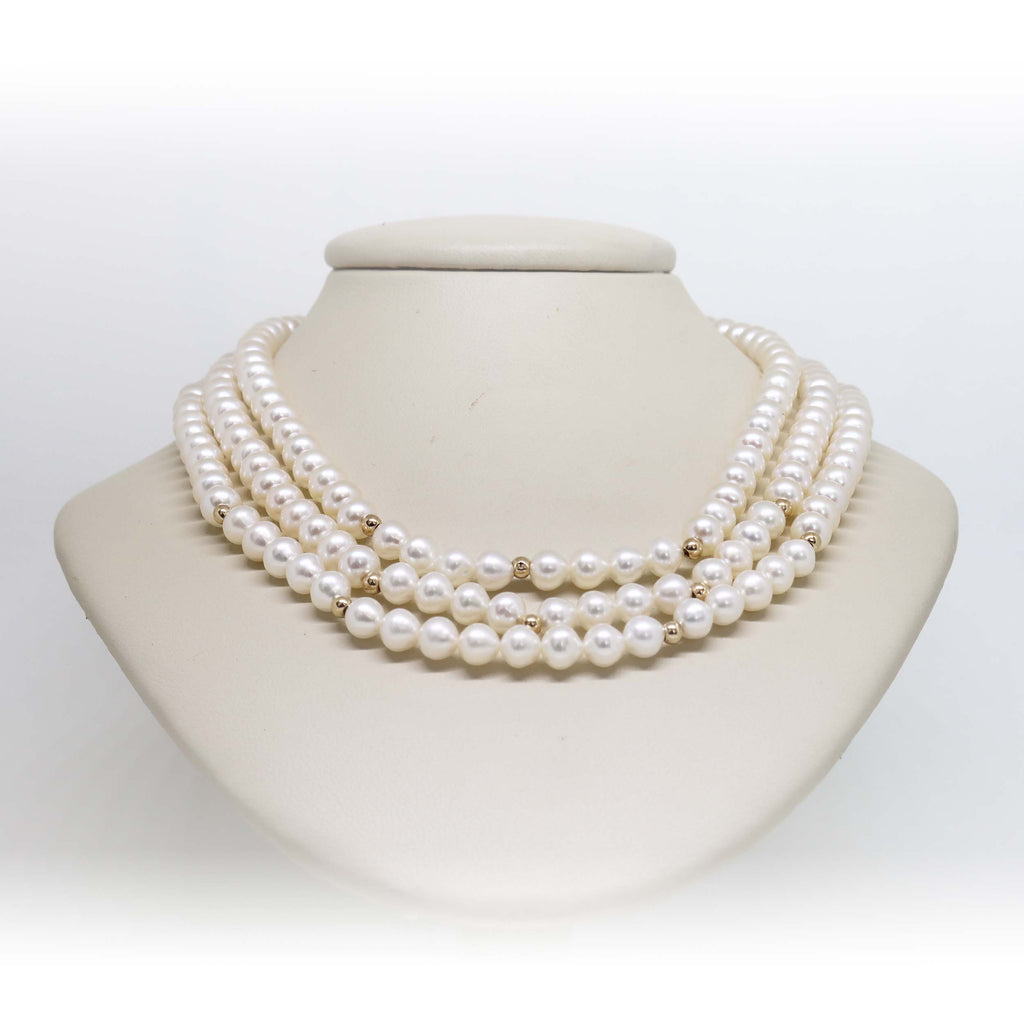 3 Strand gold beaded pearl necklace