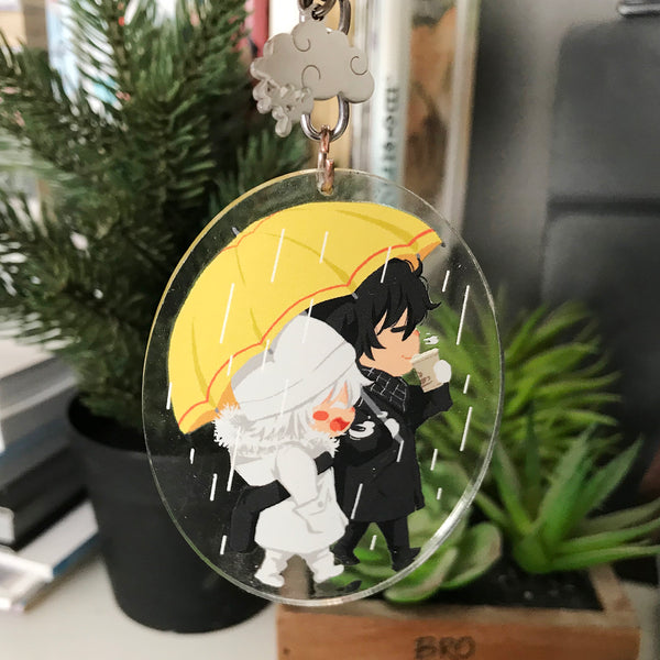 Double-sided keychain || Rainy Walk