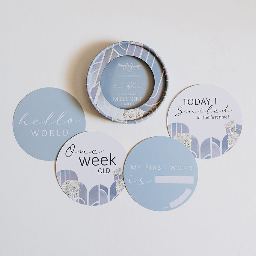 Eventide & Ice Blue Reversible Milestone Cards I Miss Kyree Loves