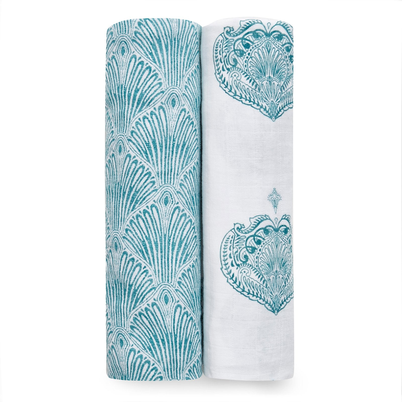 aden + anais paisley teal 2-pack muslin swaddles