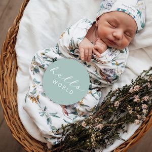 Eucalypt | Baby Jersey Wrap and Beanie Set