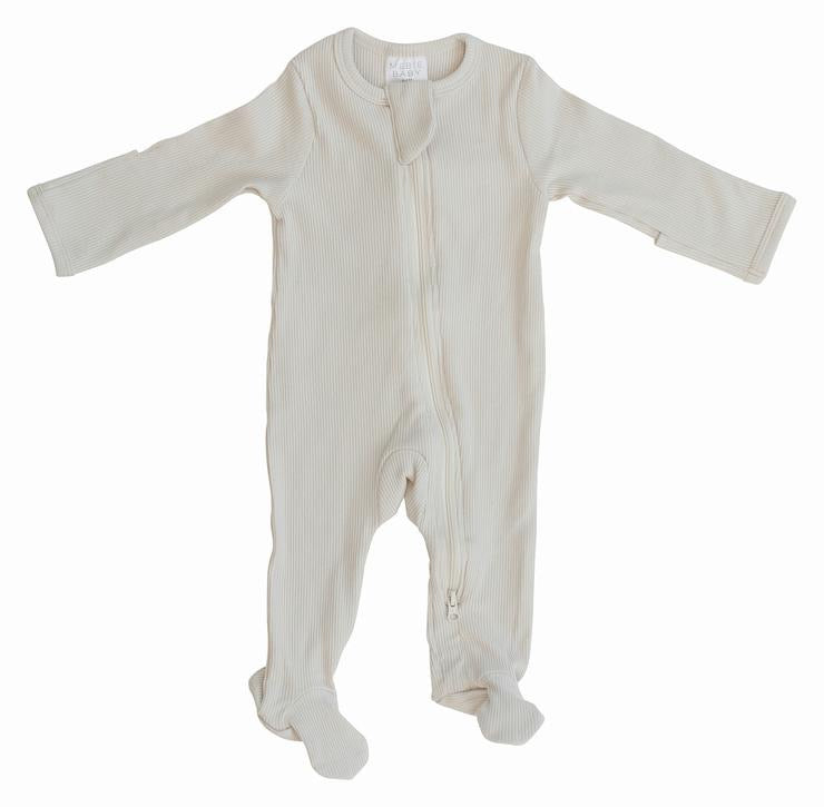 Organic Cotton Ribbed Footed Zipper One-piece - Vanilla