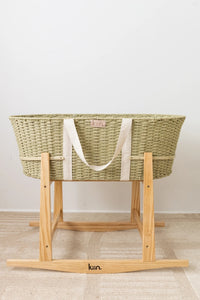 Natural Twine Moses Basket + Rocking Stand - Fern (6537519071319)