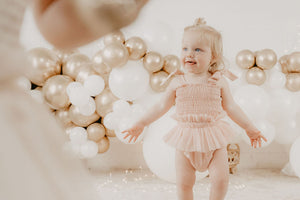 *pre-order* Shirred Tutu Romper - Dusty Pink