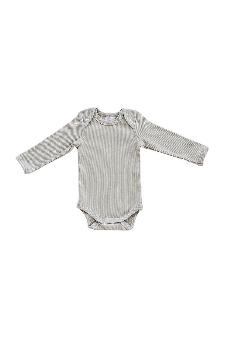 Organic Cotton Long Sleeve Ribbed Bodysuit - Oatmeal (4613415764055)