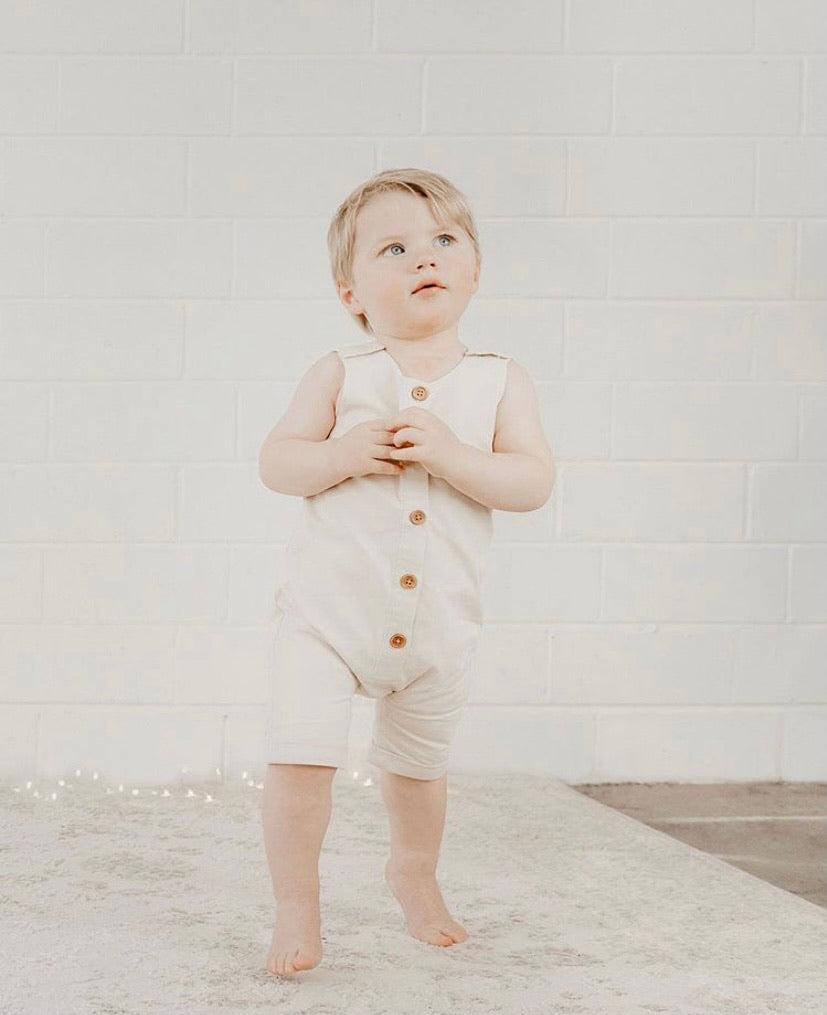 *pre-order* Linen Button Up Romper - Ivory