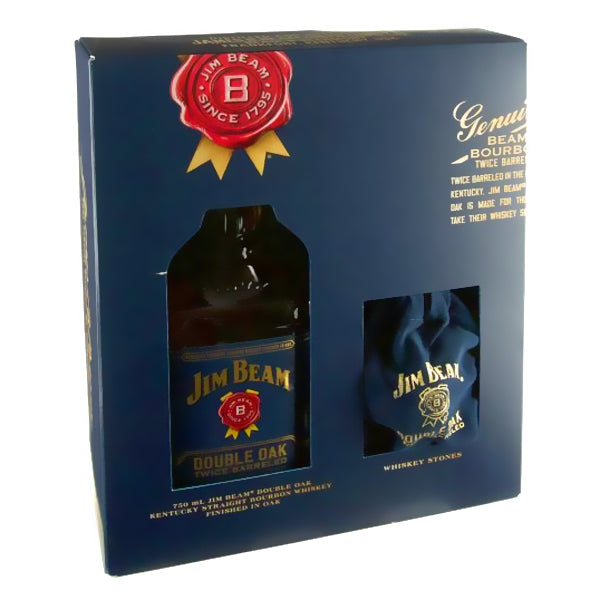 Jim Beam Bourbon Double Oak W/Whiskey Stones Gift Set - Nestor Liquor